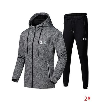 """Under Armour"" Autumn Winter Trending Men Stylish Print Hoodie Top Sweater Pants Trousers Set Two-piece Sportswear 2# Grey/Black I13689-1"