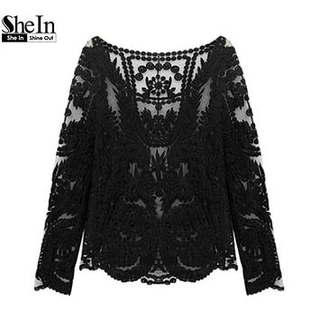 SheIn Women Lace Tops Romantic Black Tees Round Neck Long Sleeve Hollow Out Lady Crochet Sheer Sexy Plain Blouse