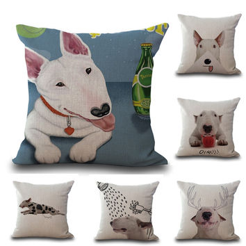 "Square 18"" Cotton Linen Bull Terrier Cute Dogs Picture Printed Sofa Decorative Seat Cushions Covers Almofada Pets Home Decor"