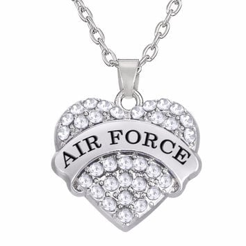 Military Jewelry AIR FORCE Clear Pink Blue Crystal Heart Pendant Necklace Link Chain Jewelry
