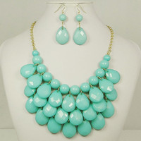 Light Turquoise Beaded Bib Necklace & Earring Set by 21mainstreet