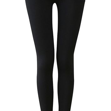 IRELIA Winter Womens 100% Cotton Fleece Lined High Waisted Leggings Long Pants
