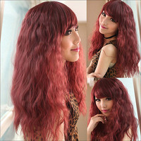 Lifelike Wine Red Oblique Bangs Wig