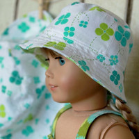 Matching Girl and Doll Reversible Bucket Hat - Blue and Green - Size 6-8 - 10% Discount
