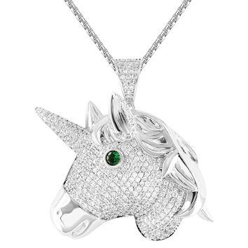 "Iced Out White Blessed Unicorn Emerald Eye Royal Pendant 24"" Chain"