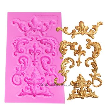 Flower silicone lace border fondant mold cake decorating tools chocolate gumpaste mould wedding cake decoraton T0984