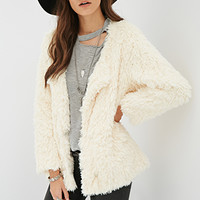FOREVER 21 Collarless Faux Fur Coat Ivory