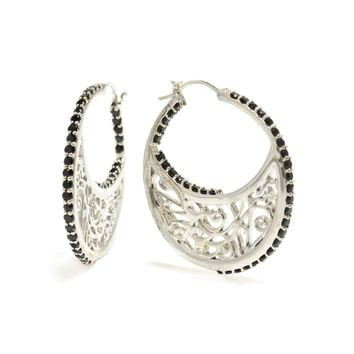 Large Sterling Silver Signature Hoop Earrings with Gemstone Accents