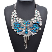 New Arrival Brand Exaggerate Luxury Crystal Vintage Palace Tassel Antique Indian Peacock Feather Short Chunky Statement Necklace