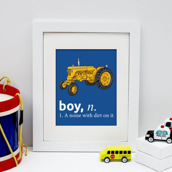 boy a noise with dirt on it, construction decor, vintage nursery decor, vintage tractor art, baby boy nursery art print, tractor print