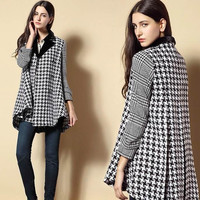Houndstooth Pattern Double Breasted Notched Collar Coat