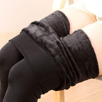 2017 Cashmere Women Leggings Sexy Girls Warm Winter Bright Velvet Knitted Thick Legging