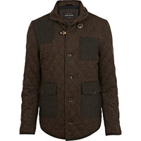 River Island MensBrown wool quilted jacket