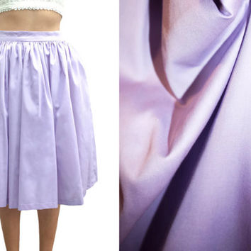 Lavender Cotton Sateen // Pinup Skirt // Full Gathered // Fully Lined Midi Skirt with Pockets // Custom Size & Length