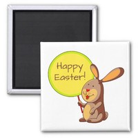 Amber Brown Bunny Holding Sign Board Square Magnet