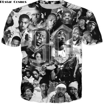 PLstar Cosmos 2019 New Fashion 2pac Tupac T shirts 90s rapper Character collage Print 3d tshirt Unisex summer Hip hop Tee shirts