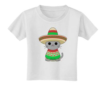 Cat with Sombrero and Poncho Toddler T-Shirt by TooLoud