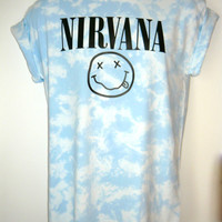 Nirvana Acid wash T shirt Rave indie retro Old school Trash