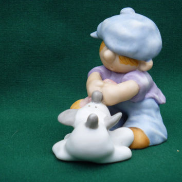 Pulling Together Boy Dog 1989 Vintage Enesco Ceramic Figurine
