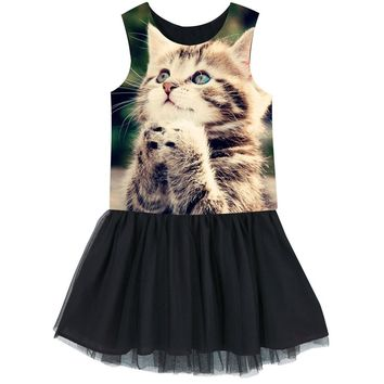 Girls dress Animal  Pray for the cat Dress sleeveless Costumes For Kids Casual Comfortable Clothes dress fashion Black dress