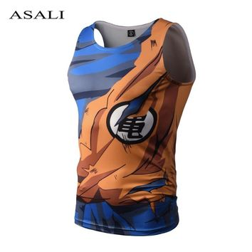 Dragon Ball Summer Fashion Men's Tank Tops 3D Vest Funny Print Slim Fit Brand Clothing Man Breathable Fitness T Shirt Tees 2018