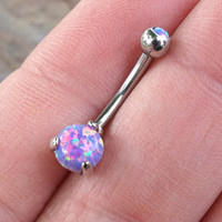 Purple Fire Opal Belly Button Ring Internally Threaded