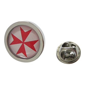 Bordered Red Maltese Cross Pendant Lapel Pin