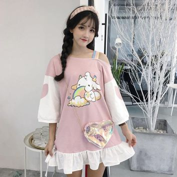 Summer Japanese Female's Fresh Cute Fashion Dresses Lolita Anime Heart Printing Kawaii Women Dress Off Shoulder Rainbow Dress