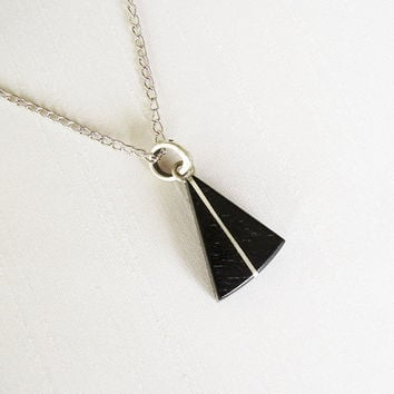 Ebony and Sterling Silver Triangle Pendant, silver plated chain - Women or Men Necklace - Masculine Jewelry - Geometric Necklace - Black
