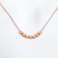 Beautiful, Pink gold, Rose gold, Beads, Bar, Necklace, Simple, Bar, Beads, Minimal, Minimalist, Pink, Gold, Rose, Gold, Gift, Jewelry