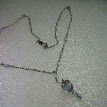 "Vintage 1980's Silvertone 16"" Aurora Borealis Pale Blue Accent Beaded Necklace with  Cut Bead Drop"
