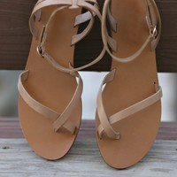 SZ 6 Kiera Natural Tan Wrap Sandals