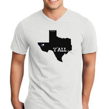 Texas State Y'all Design with Flag Heart Adult V-Neck T-shirt by TooLoud