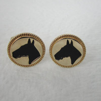 Vintage Horse Cufflinks Equine Cuff Links Equestrian Signed Hickok Mens Jewelry Gifts for Men Cowboy Cowgirl