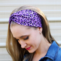Purple Leopard Vintage Headband: Retro Leopard Faux Head Wrap for Adults, Animal Print, 100% Cotton Fabric