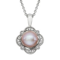 Simply Vera Vera Wang Dyed Freshwater Cultured Pearl & Diamond Accent Sterling Silver Flower Pendant Necklace (White)