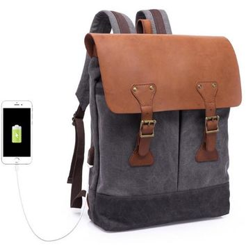 New men's retro shoulder bag multi-function canvas bag 15.6-inch computer laptop bag travel backpack with usb interface