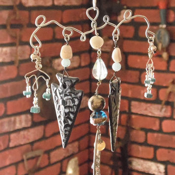 Thunderbird Southwestern Inspired Wire Wrap Wind Chime / Sun catcher Home and Garden Decor Yard Art Whimsy