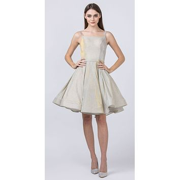 Glittery Homecoming Short Champagne Dress with Double Straps