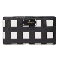 VONL8T Kate Spade Grove Street Stacy Printed Pop Art Check Wallet Purse Bag; Black/White