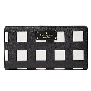 DCK4S2 Kate Spade Grove Street Stacy Printed Pop Art Check Wallet Purse Bag; Black/White