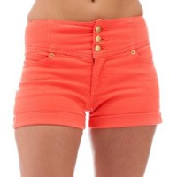 Classic Designs Juniors High Waisted 5 Pocket Stretch Cotton Short Shorts in Coral Size: 29