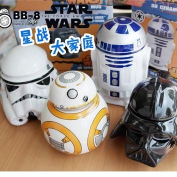 Star Wars Force Episode 1 2 3 4 5 Creative  R2-D2 Robot Ceramic Mug BB-8 Robot Coffee Cup Darth Vader Porcelain Tea Cup Tumbler for Children Friend Gift AT_72_6