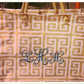 Glamour Geometric or Greek Key Design Metallic Totes with Monogram or Personalization
