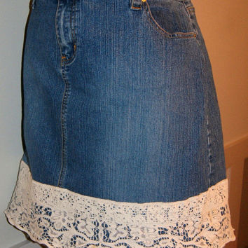 Upcycled Denim Skirt Recycled Jeans Denim Vintage Lace Vintage Crochet Woman's Plus Size 20 20W