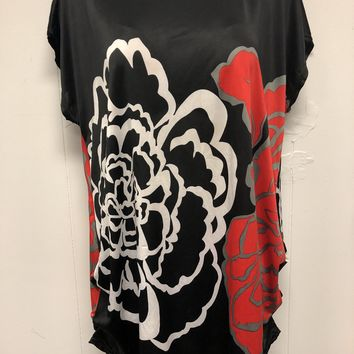 Black Floral Dress Red and White Design