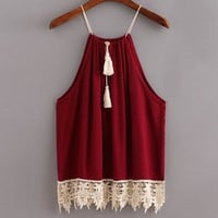 Women Lace Crop Tops Summer Style Sexy Trimmed Tasselled Drawstring