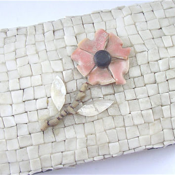 MOP Pearl Box Coral Flower Seashell Jewelry by VillaCollezione