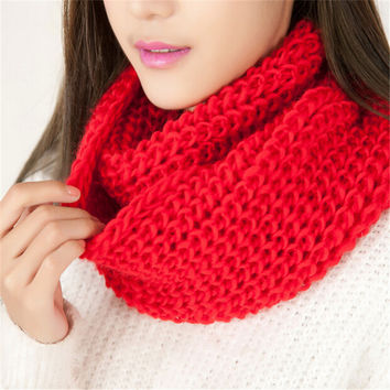 New 9 Color Autumn Winter Warm Women Scarf Snood Wool Blend Knit Neck Circle Cowl Snood Wrap Ring Scarves Shawl