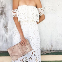 Sexy lace hollow out a word that wipe a bosom collar dress strapless dress